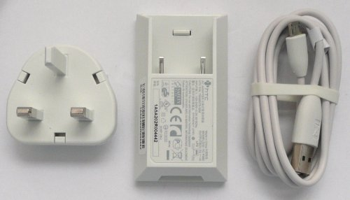 Genuine HTC White 3 Pin Mains Charger with Genuine HTC White Micro USB Data/ Charge Cable for HTC Legend, Desire, HD2 , HD Mini, Wildfire, Desire HD, Desire Z, HD7, Mozart, Trophy , Aria, Wildfire S, Desire S, Incredible S, Sensation, Chacha & Salsa