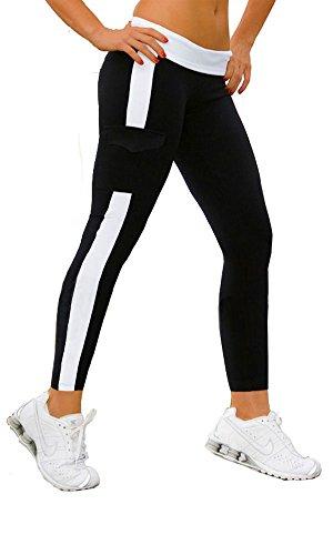 Nach oben Damen Sport Hose Leggings Hosen Lange Stretch Running Pants schwarz+WeiB,M