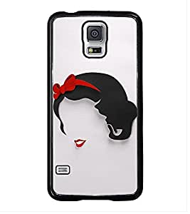Fuson Premium 2D Back Case Cover LAdy With Black Background Degined For Samsung Galaxy S5 G900i::Samsung Galaxy S5 i9600::Samsung Galaxy S5 G900F
