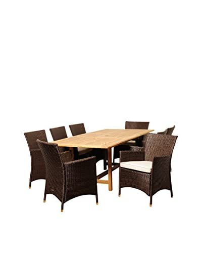 Amazonia Teak Yale 9-Piece Wicker Extendable Rectangular Dining Set with Off-White Cushions, Brown