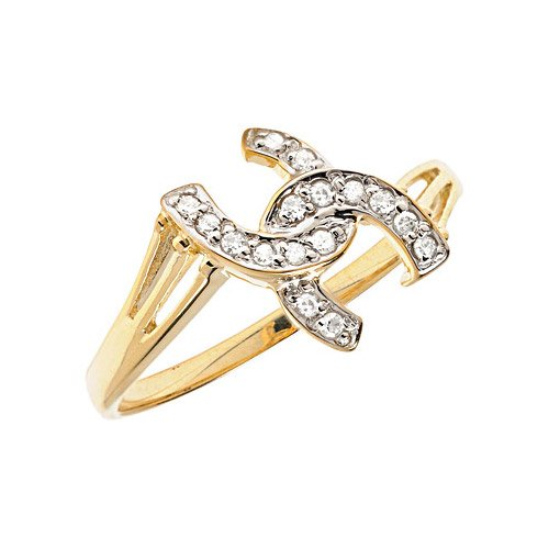 10K Yellow Gold Diamond Horseshoe Ring (Size 11)