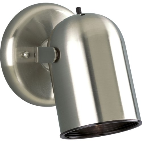 Progress Lighting P6155-09 1-Light Round Back Directional Metal Cylinder Style Light with On/Off Switch, Brushed Nickel