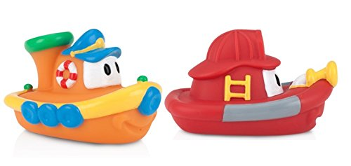 Nuby 2-Pack Tub Tugs Floating Boat Bath Toys, Colors May Vary (Floating Bath Tub compare prices)