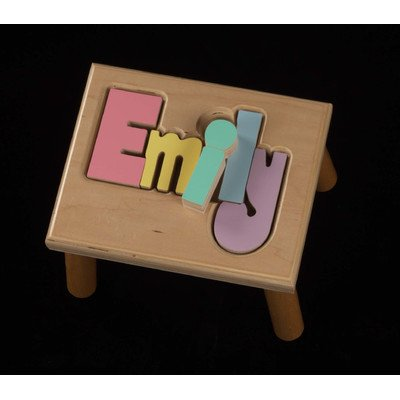 Personalized 1-Step Wood 8 Letters Step Stool Wood: Birch, Finish: Natural, Letter Color: Pastel