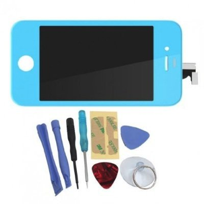 Binnbox Sky Blue Lcd Touch Screen Glass Digitizer Assembly Replacement For Iphone 4S Gsm + Back Cover Case + A Set Cracked Screen Repair Tools Kit