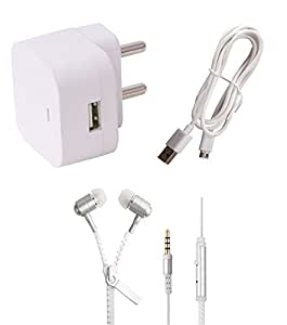 Micromax Canvas Mega Q417 Wall Charger, Charging/SYNC Cable & White Zipper Headphones By Dhhan