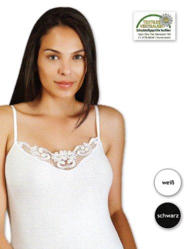 2 bis 10 Damen Hemden mit Spitze Unterhemden 100% Baumwolle - Spaghetti Träger (XXL / 50-52, Schwarz / 2 Stück)