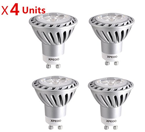 Xpeoo® Pack Of 4 Units Gu10 6W Super Bright Led Light Equivalent To 50W Halogen Bulb Spotlight Down Lamp Energy Saving Recessed Tracking Lamps Non-Dimmable Effect Of Philips - Gu10 Non-Dimmable Soft White