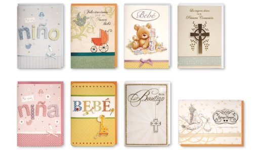 Assorted Congratulations Wishes for Baby Cards Box Set 8 Pack Spanish Handmade Embellished Greeting Cards for Boy or Girl Birth & Shower Card