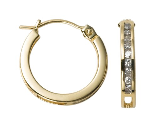 14k Yellow Gold Round Diamond Channel-Set Hoop Earrings (1/8 cttw, J Color, I2 Clarity)