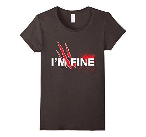Women's I'm Fine Wolf Claw Superhero Halloween Costume Party T-shirt Small Asphalt (I M A Super Hero Costume)