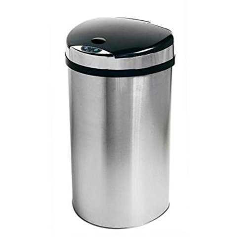 iTouchless Semi-Round Touchless 13-Gallon Trash Can, Stainless Steel (Trash Can 13 Gallon Semi Round compare prices)
