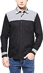 Y.U.V.I. Men's Cotton Slim Fit Casual Shirt (11113036-XL, Black & White, X-Large)