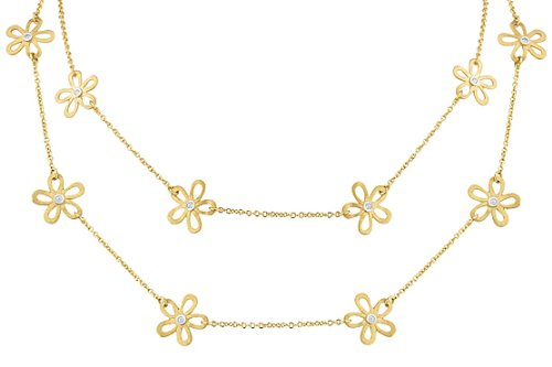 I. Reiss 14K Gold Floral Necklace Set with Diamonds.