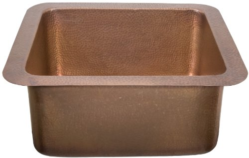 Ecosinks K1U-2220Ah Dual Mount Hand 0-Hole Single Bowl Kitchen Sink, Hammered Solid Copper