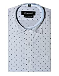 Dennison White Printed Mens Semi Formal Slim Fit Shirt - B00UTKXF1W