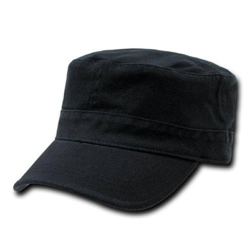 Buy Black Flat Top Military Inspired Flex Fitting Cadet Baseball Cap Hat by Decky