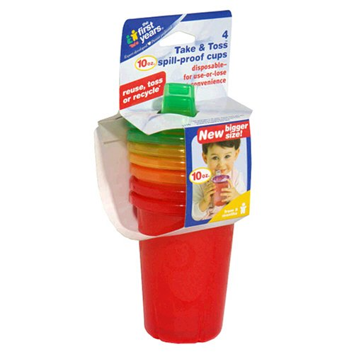 The First Years Take & Toss Spill-Proof Cups, 10 oz , 4 cups - 1