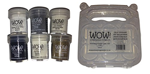 WOW! Embossing Powder 6-Pack Starter Kit and Clear Carrying Case - Bundle 7 Items (Embossing Starter Kit compare prices)