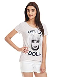 Barbie Women's Body Blouse T-Shirt (BB1DWT1088_Pink Grey Melange_Small)
