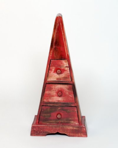 Rangement Pyramide 3 Tiroirs Boite a Bijoux, 23x14x50 cm, Bois, Rouge