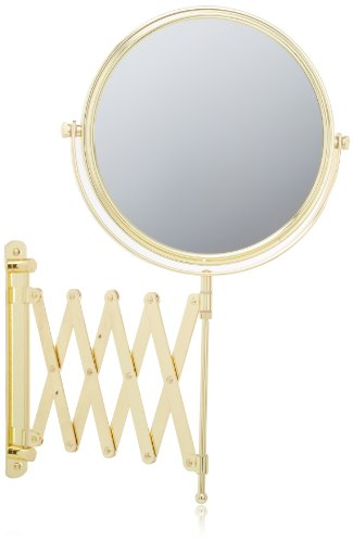 Jerdon JP2028G 8-Inch Two-Sided Swivel Wall Mount Mirror with 4x Magnification, 24-Inch Extension, Gold Finish