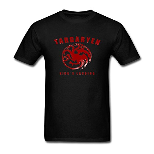 Xiaoqiu Men's Game Of Thrones Targaryen King Short Sleeve T-shirt L Black