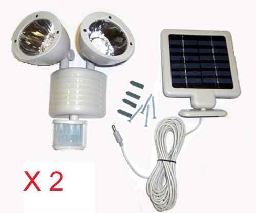 2 Sets Of 22 Led Outdoor Solar Powered Floodlight Motion Sensor Security Light Gray Color Body + Duracell Aaa Batteries X4 For Free (Batteries Are Brand New But Loose From Bulk Package Expired In 2019)