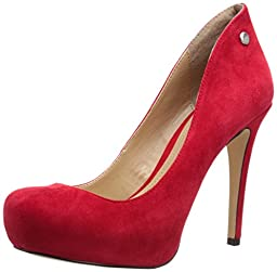 BCBGeneration Women\'s BG-Gisel Platform Pump, Cayenne Red Suede, 7.5 M US