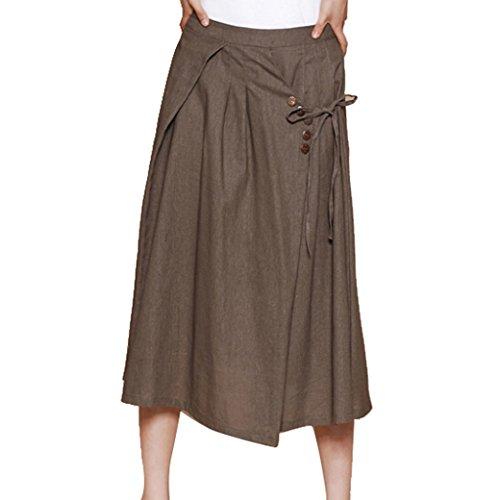 Casual Loose Light Soft Long Skirt Dress For Women- Dark Kahki