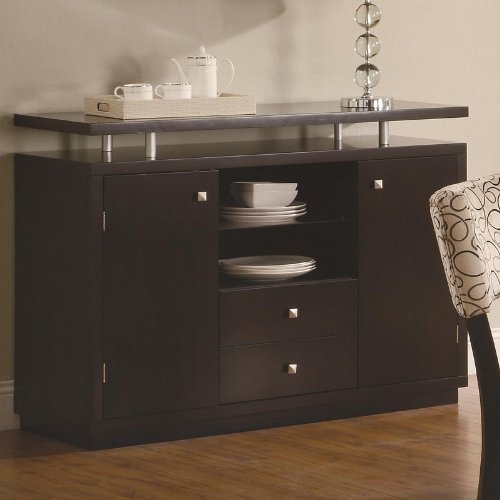 Cheap Server Sideboard with Floating Top in Dark Cappuccino Finish (VF_103165)