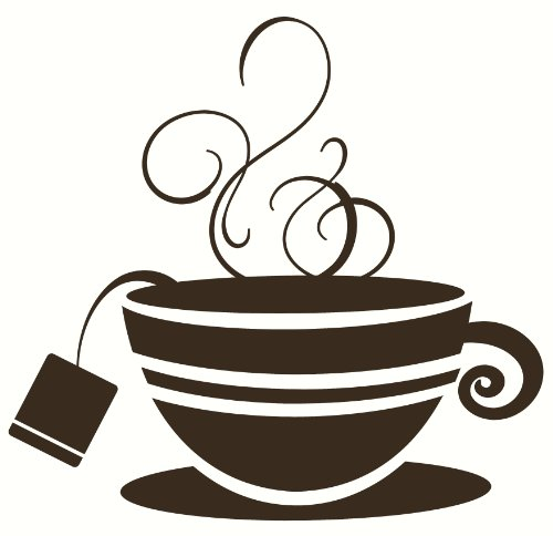 Wall Décor Plus More Wdpm2110 Striped Teacup With Steam Kitchen Wall Art Vinyl Sticker Decal, 12X11.5-Inch, Chocolate Brown