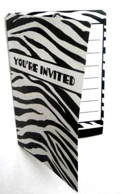 Black & White Zebra Birthday Party Invitations