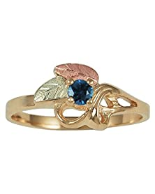 buy Blue Sapphire Slim-Profile Ring, 10K Yellow Gold, 12K Green And Rose Gold Black Hills Gold Motif, Size 4.5