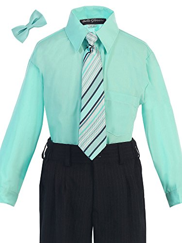Bello Giovane Boys Hawaiian Blue Dress Shirt with Tie Set 8-20 (Pick Free Bow Tie) (18, Tiffany Blue) (Tiffany Blue Shirt compare prices)