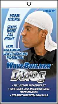 Wave Builder Durag with Long Tie - Various Colors!