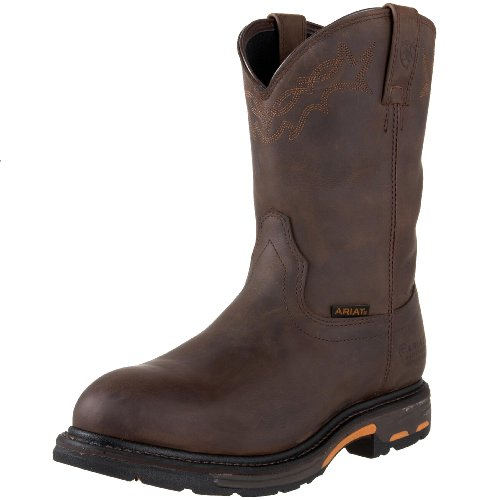 Ariat Men's Workhog Pull-On Waterproof Boot,Oily Distressed Brown,10.5 2E US