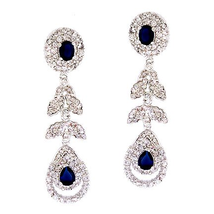 Fancy Drop Simulated Sapphire C.Z. Diamonds Silver Earrings (Nice Holiday Gift, Special Black Firday Sale)