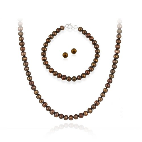 Sterling Silver 5.5-6mm Genuine Freshwater Cultured Brown Pearl Necklace Bracelet & Stud Earring Set