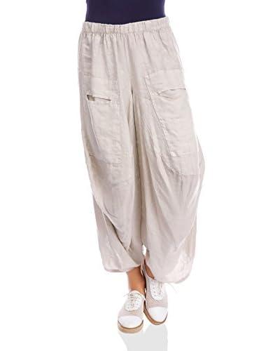 100% Lino by Bleu Marine Pantalone Rivka  [Bianco]