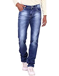 Kavis Mid Waist Dark Blue Colored Slim Fit Men's Jeans - B016WG0ULY