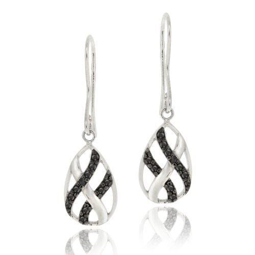 Sterling Silver Black Diamond Accent Woven Teardrop Dangle Earrings