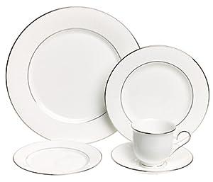 Lenox Hannah Platinum Fine Bone China 20-Piece Dinnerware Set, Service for 4