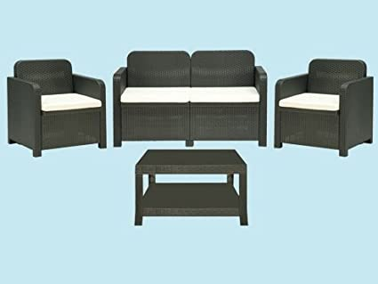 Set Gartenmöbel in Rattanoptik 'Club Light' 2 Sessel Sofa und Tisch