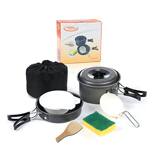 Camping cookware mess kit ilome 8pcs outdoor portable for Kitchen set portable