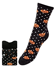 3 Pairs of Freshfeet™ Cotton Rich Pumpkin Hollow Ankle High Socks with Silver Technology