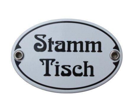 Trschild-Stamm-Tisch-Emaille-Schild-Stammtisch-Jugendstil-7-x-105-cm-Emailschild-wei-ohne-Holzrahmen