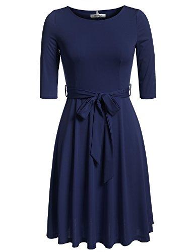 Meaneor Damen Skaterkleid Basic Kleid 3/4 Ärmel Tailliengürtel O-Ausschnitt Stretch