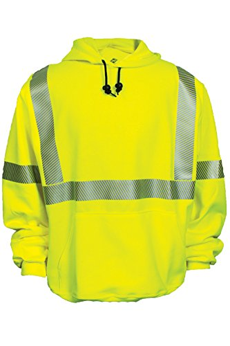 National Safety Apparel C21HC03C3SM Class 3 FR Hi-Vis Hooded Pullover Sweatshirt, Small, Fluorescent Yellow
