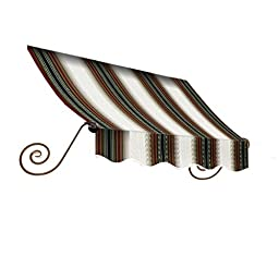 Awntech 3-Feet Charleston Window/Entry Awning, 24 by 36-Inch, Burgundy/Forest Green/Tan